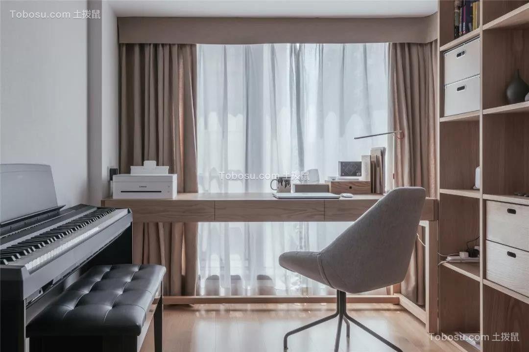 88㎡日式MUJI风三室两厅多功能书房图片