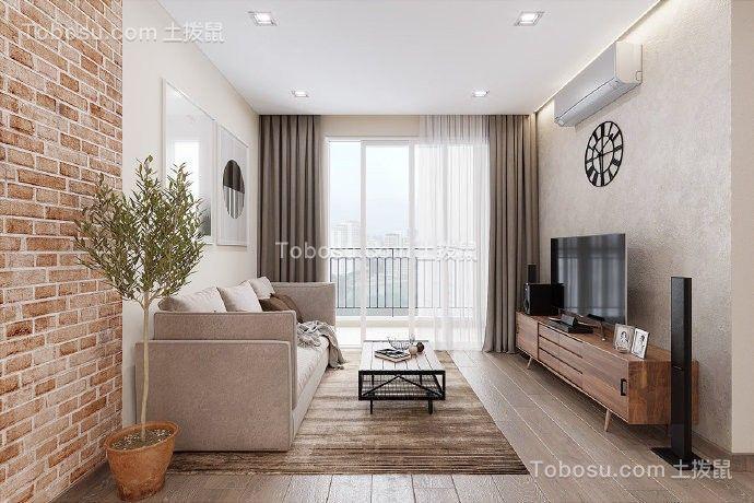 现代实木风格三房一厅户型90平方图片