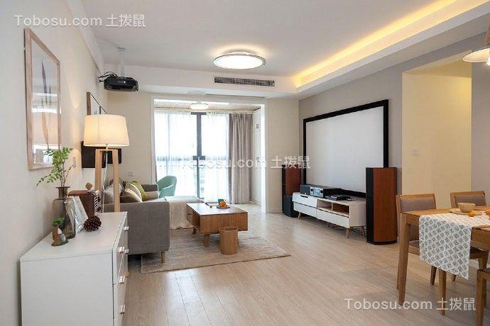 现代简约三房一厅户型105平米效果图