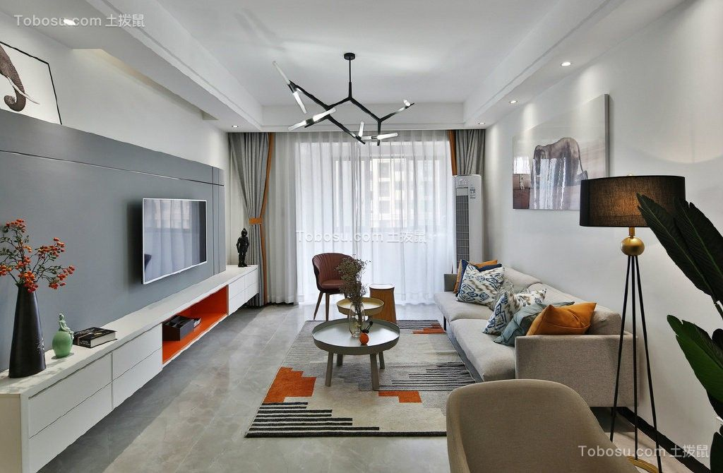现代简约二房一厅户型70平米效果图