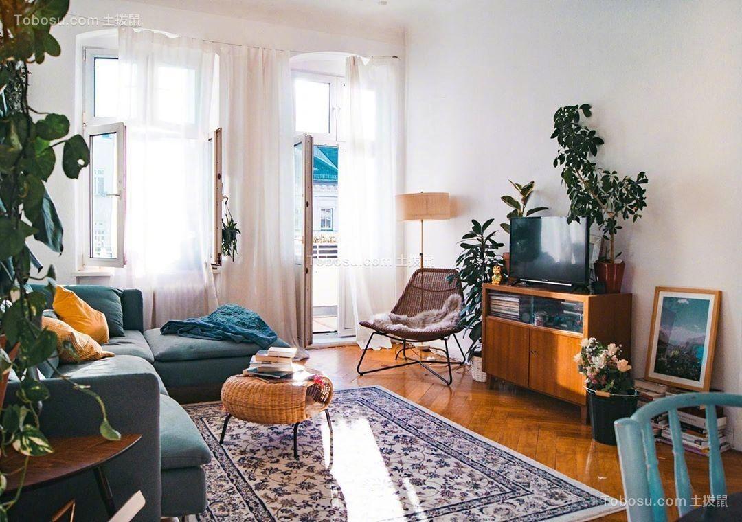 混搭復古二房一廳戶型50平方效果圖