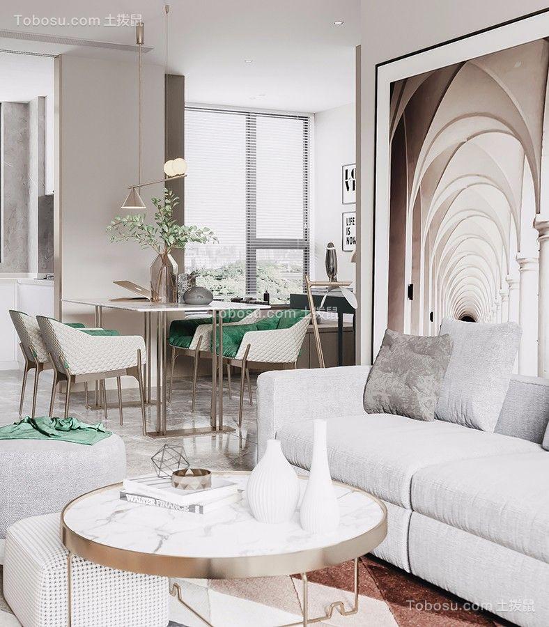 100㎡现代风格二居室装修效果图