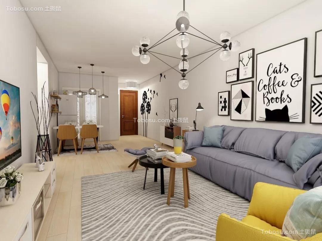 金地锦城檀府86平米现代北欧风格二居室效果图鉴赏