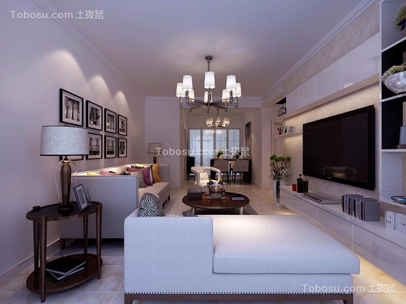 繁华里85㎡现代风格二居室效果图