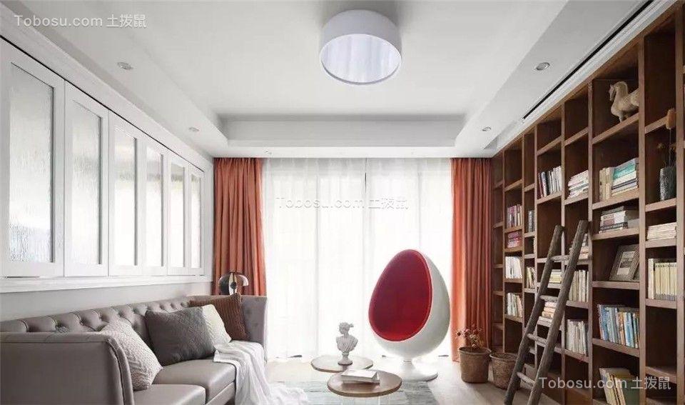 简约风格装修,有图书馆、衣帽间、休闲室的家