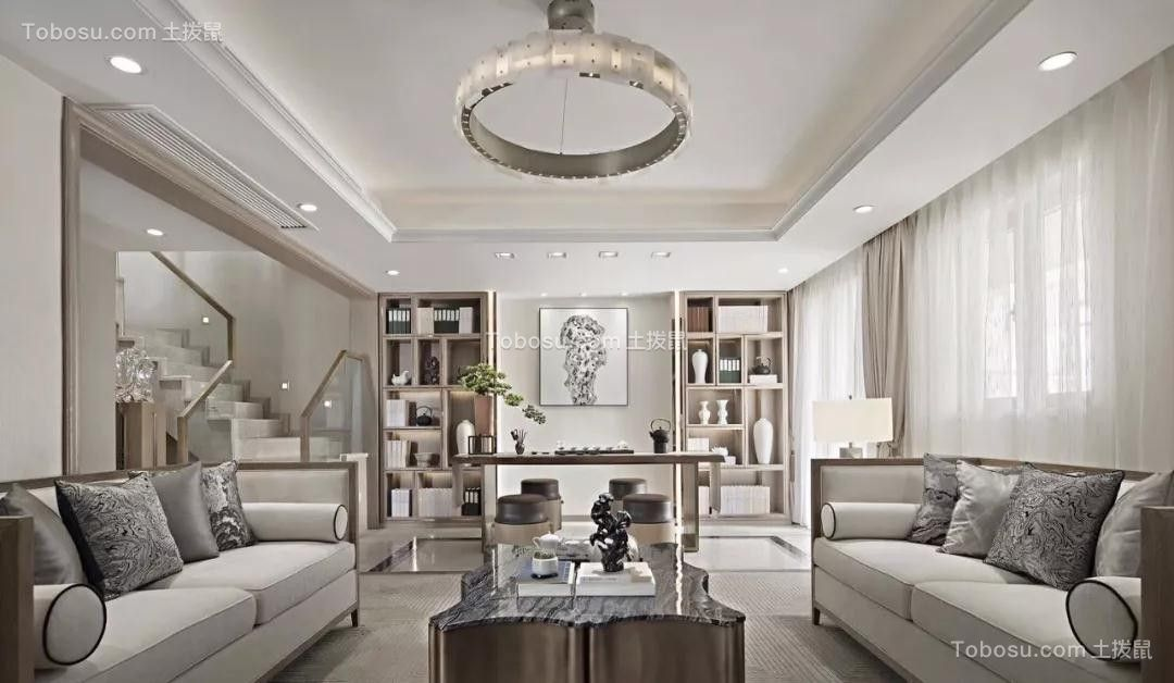 2019新中式起居室装修设计 2019新中式背景墙装修设计图片