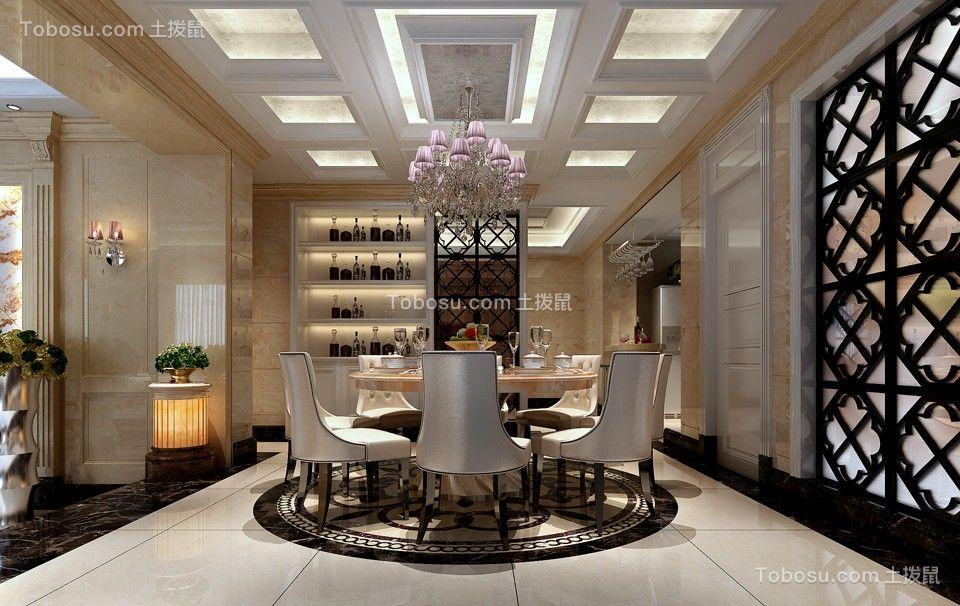 2020欧式餐厅效果图 2020欧式博古架装修设计图片