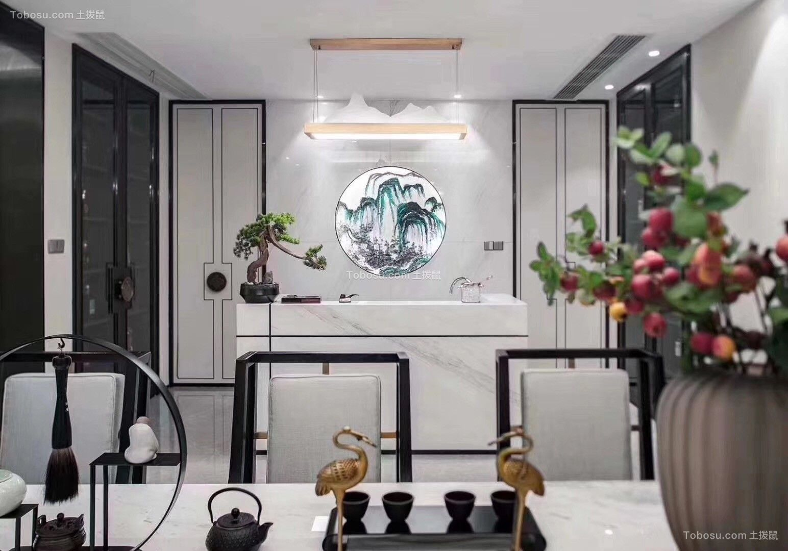 2019中式餐厅效果图 2019中式背景墙装修图