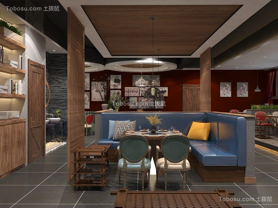 2019现代中式餐厅效果图 2019现代中式地砖装修效果图大全