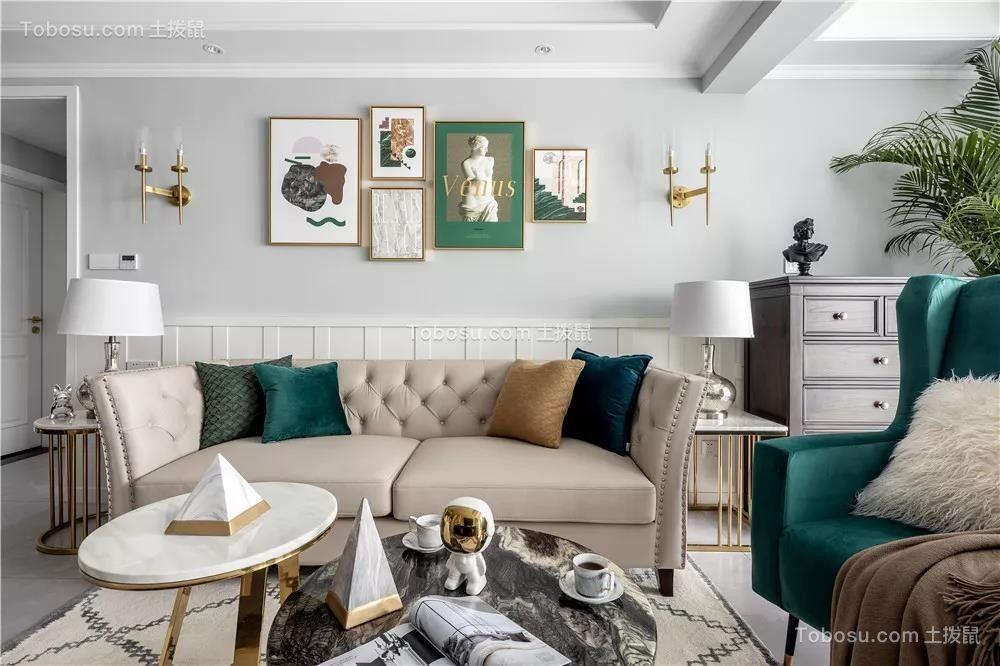 120㎡轻奢美式3室2厅,彰显典雅不失浪漫的品位生活