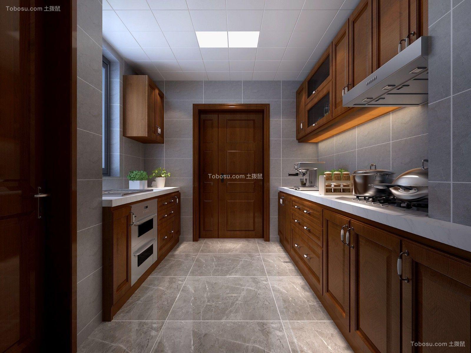 2019新中式厨房装修图 2019新中式橱柜装修效果图片
