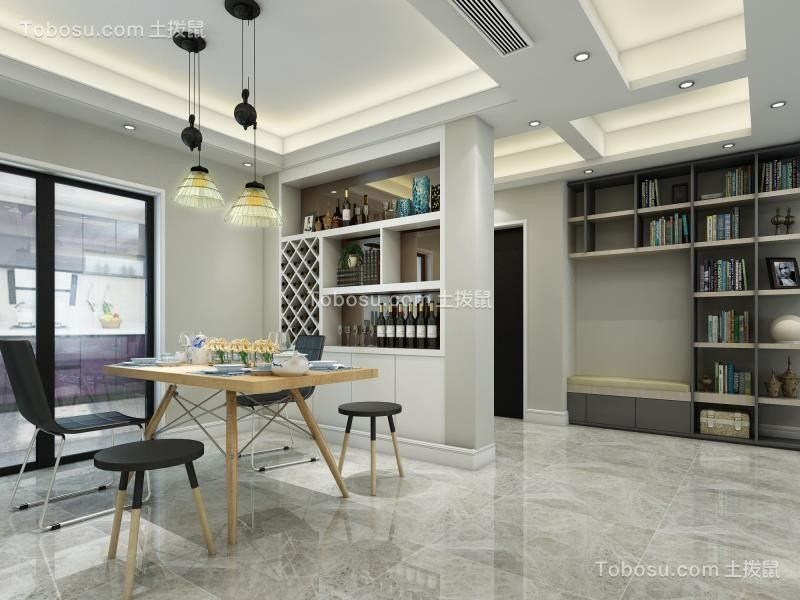 2020现代简约餐厅效果图 2020现代简约博古架装饰设计