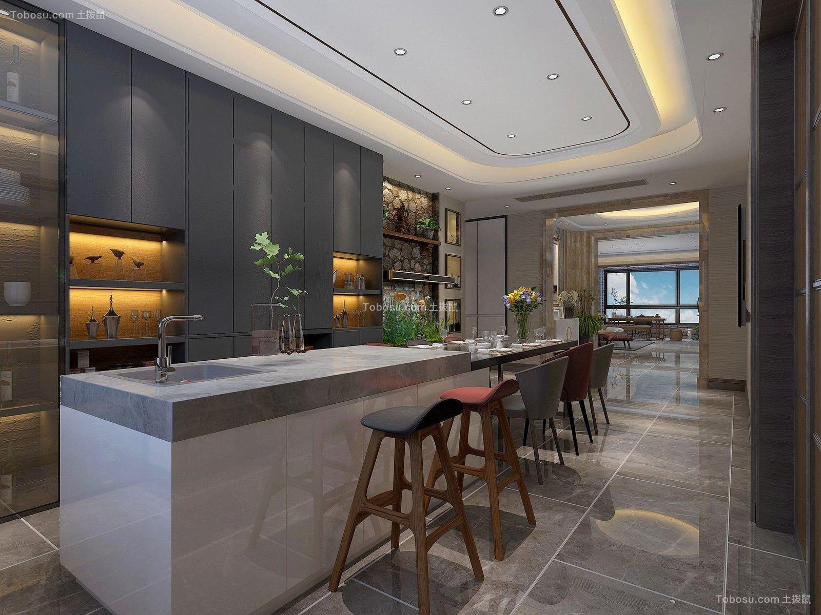 2020现代简约厨房装修图 2020现代简约吧台装修设计图片