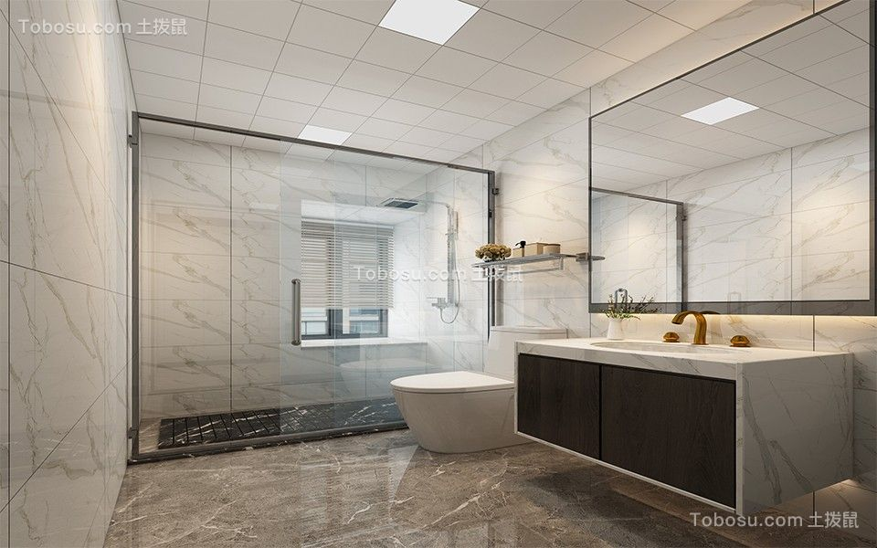 2021新中式卫生间装修图片 2021新中式淋浴房装修设计图片