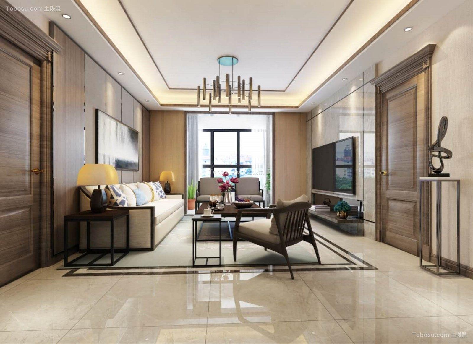 2019新中式客厅装修设计 2019新中式地板砖设计图片