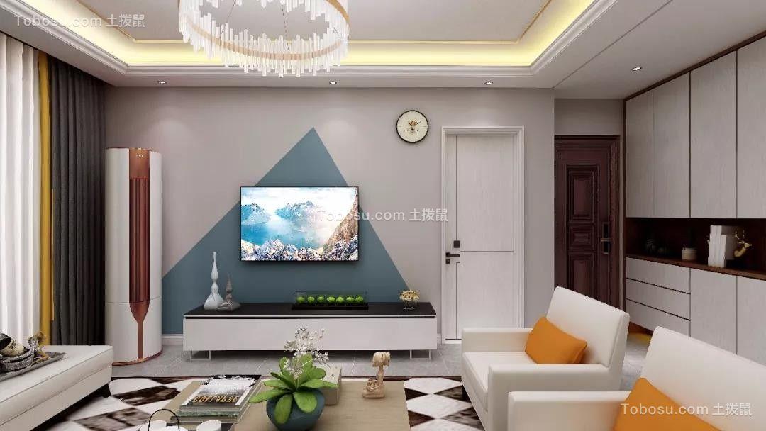 2020现代简约客厅装修设计 2020现代简约电视柜装修效果图片
