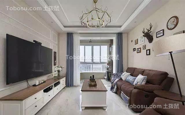 73平美式风格二居室装修效果图