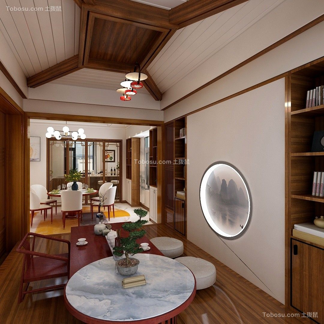 2020新中式起居室装修设计 2020新中式博古架装修图