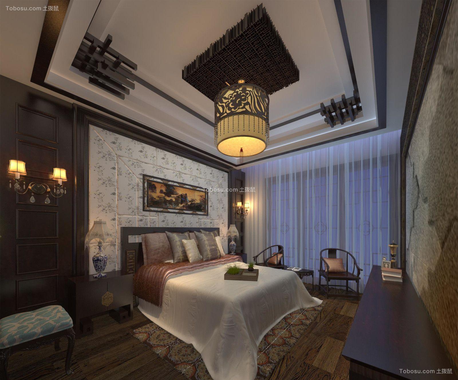 2019新中式卧室装修设计图片 2019新中式照片墙装修图