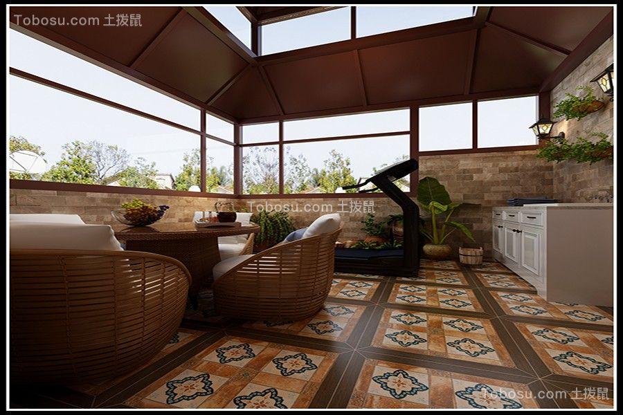 2021美式阳台装修效果图大全 2021美式地板砖装修设计图片
