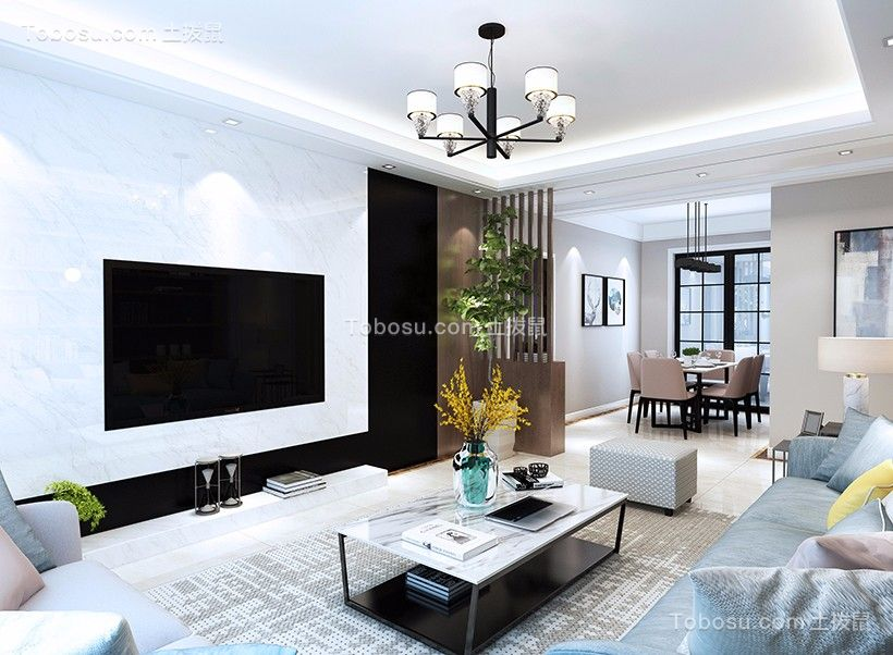 2020现代客厅装修设计 2020现代地板效果图