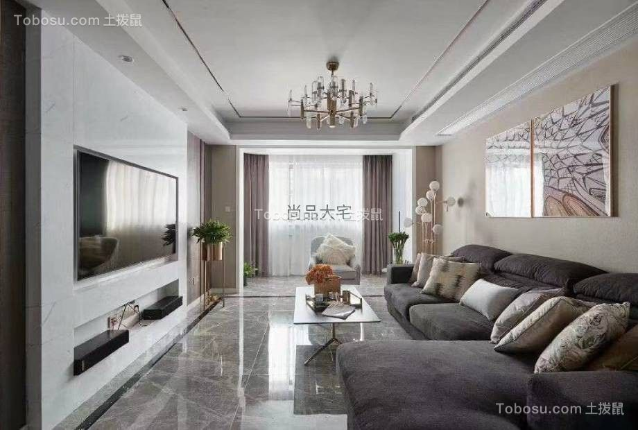 2020后现代客厅装修设计 2020后现代窗帘装修效果图片