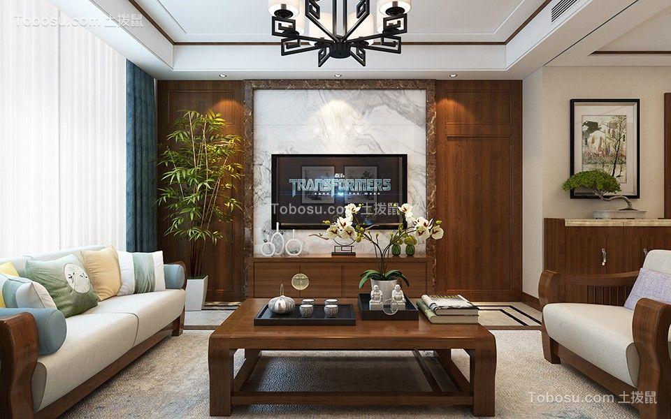 2021新中式客厅装修设计 2021新中式照片墙装修效果图大全