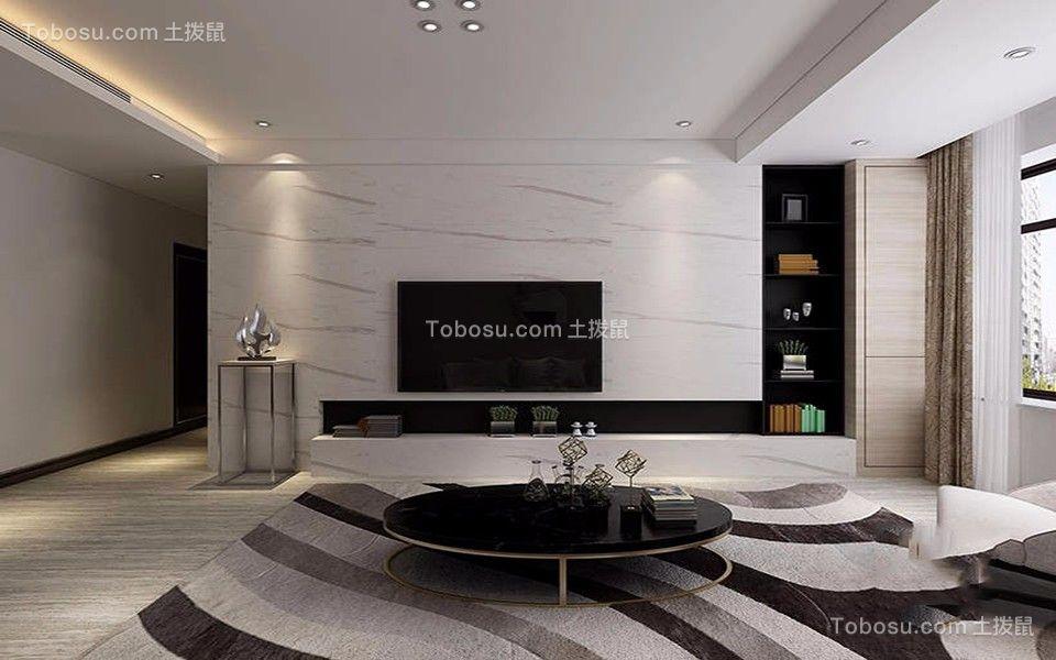 2020现代简约客厅装修设计 2020现代简约电视背景墙装修设计图片