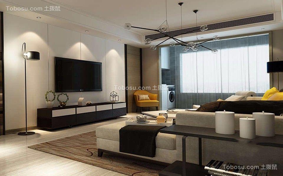 2021现代简约客厅装修设计 2021现代简约电视背景墙装修设计图片