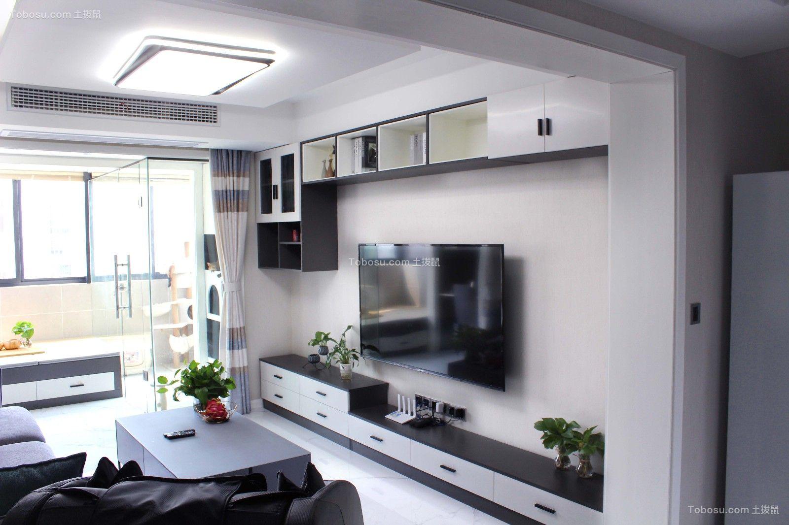 2020简约客厅装修设计 2020简约电视柜装修效果图片