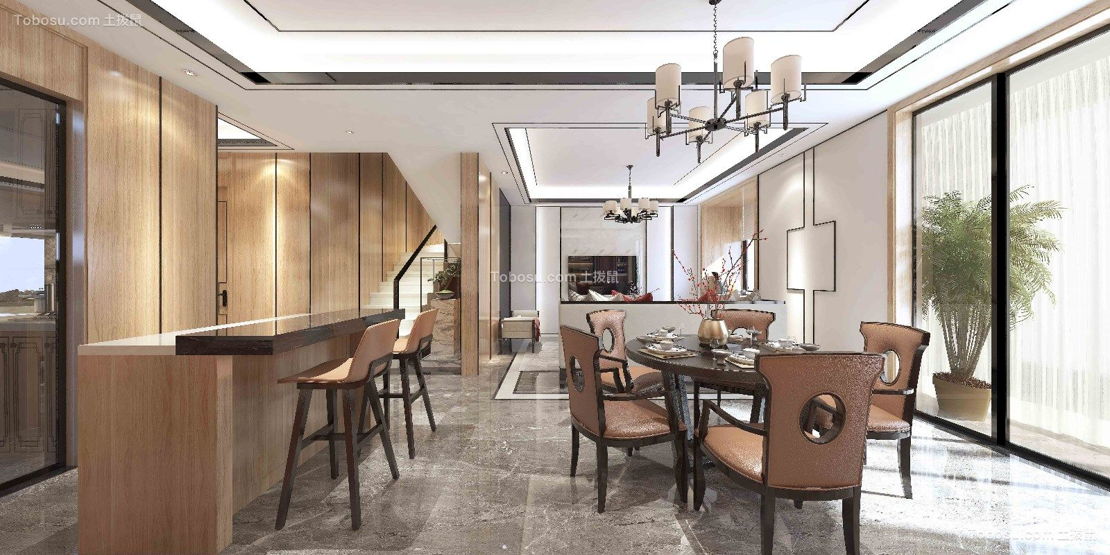 2020新中式餐厅效果图 2020新中式细节装饰设计