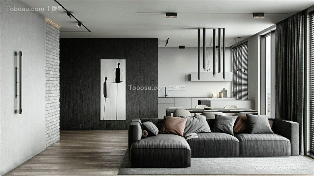 84㎡現代風兩居室裝修效果圖