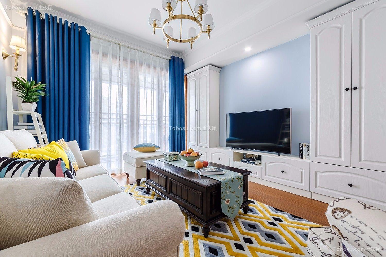 2021美式客厅装修设计 2021美式窗帘装修效果图片