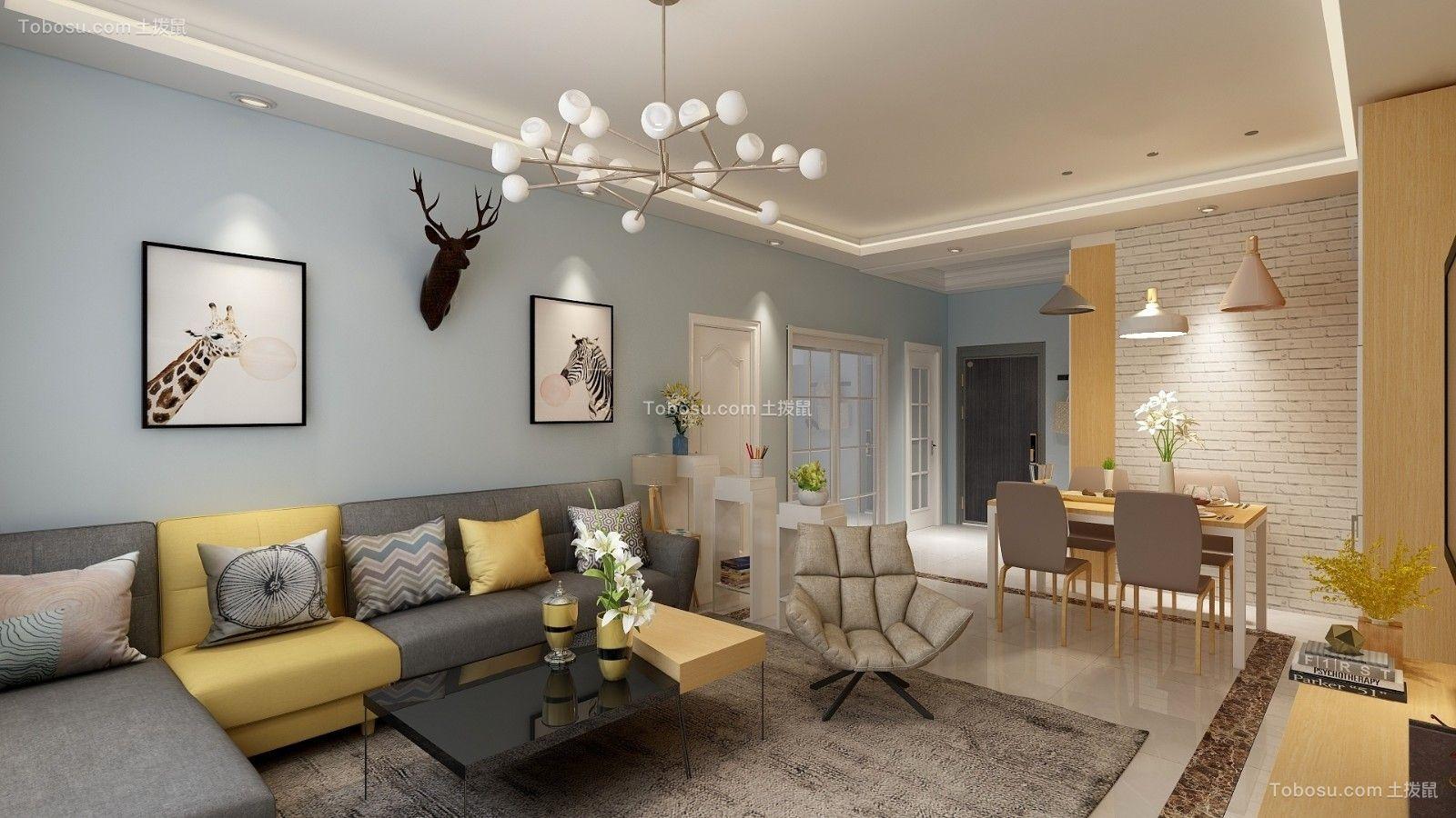 80㎡北欧风格两居室装修效果图