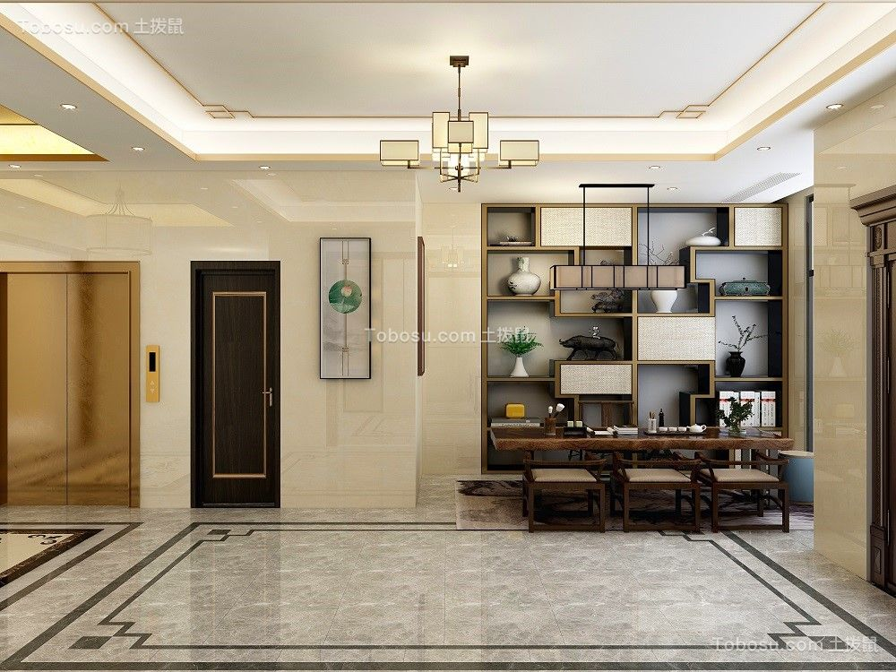 2021美式客厅装修设计 2021美式博古架装修设计图片