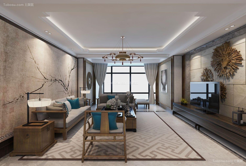 2021新中式客厅装修设计 2021新中式落地窗效果图