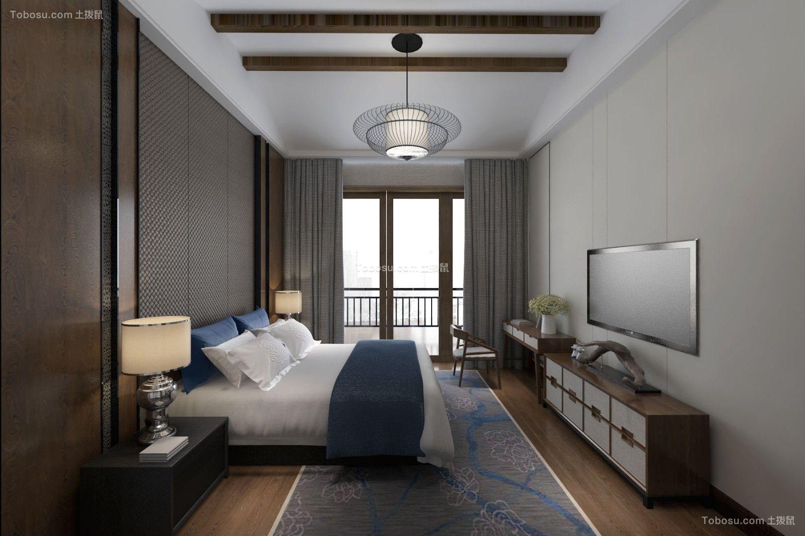 2021新中式卧室装修设计图片 2021新中式床装修效果图片