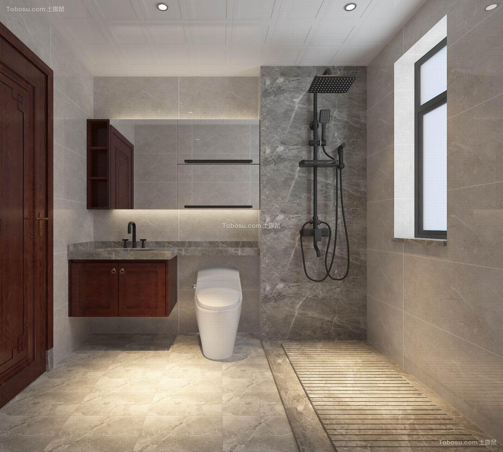 2021新中式卫生间装修图片 2021新中式浴室柜装修图片
