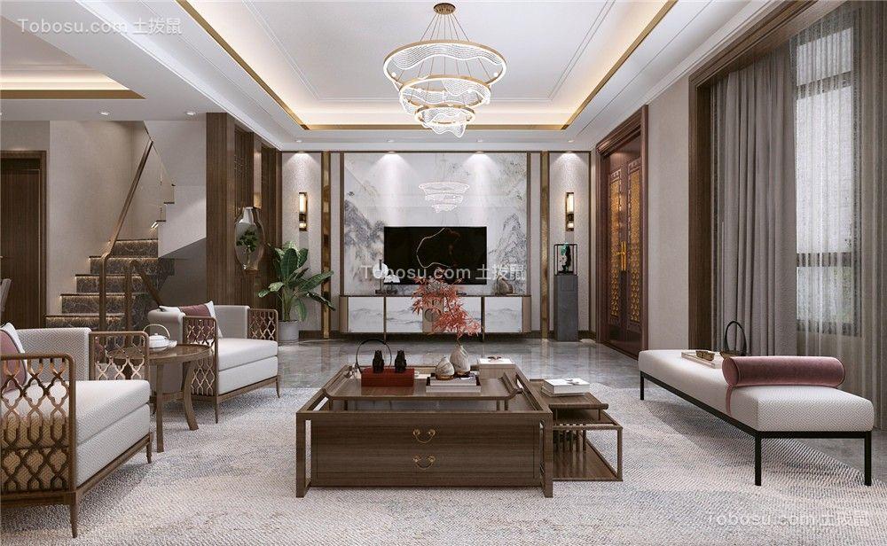2021中式客厅装修设计 2021中式吊顶设计图片