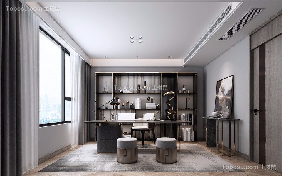 2021现代书房装修设计 2021现代背景墙装修效果图片