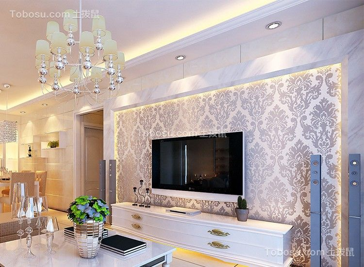 2021简欧客厅装修设计 2021简欧电视柜装修效果图片
