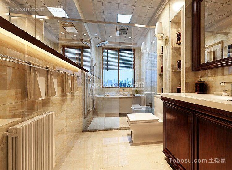 2021美式卫生间装修图片 2021美式浴室柜装修图片