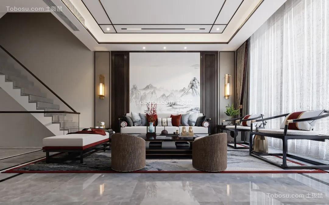 2021新中式客厅装修设计 2021新中式楼梯装修效果图片